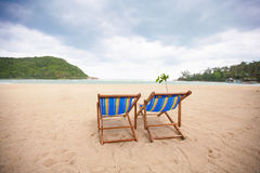 Beach chairs at sea front Royalty Free Stock Photography