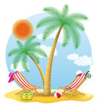 Beach chairs stand under a palm tree vector illustration Royalty Free Stock Image