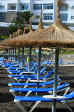 Beach chairs and sun umbrellas. On a beach royalty free stock photography