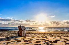 Beach chairs after sunrise Royalty Free Stock Photos
