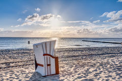 Beach chairs after sunrise Royalty Free Stock Photo