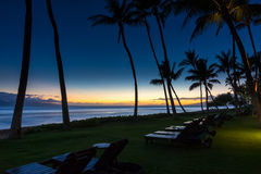 Beach Chairs after Sunset. Tropical beach after sunset with beach chairs and palm trees Royalty Free Stock Photo