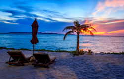 Beach Chairs With Sunset View Stock Photography