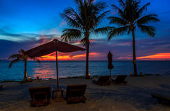 Beach Chairs With Sunset View Royalty Free Stock Photography