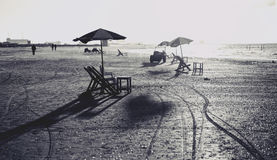 Beach chairs and tables,Black and white. Royalty Free Stock Image