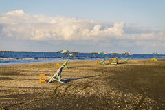 Beach chairs and tables, Damietta, Egypt Royalty Free Stock Photos