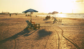 Beach chairs and tables, Ras Elbar, Damietta, Egypt. Royalty Free Stock Images