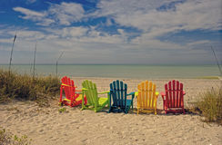 Beach Chairs on a Tropical Beach Royalty Free Stock Image