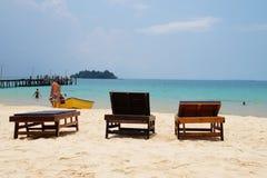 Beach chairs on tropical island, Cambodia Royalty Free Stock Photos