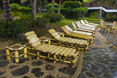 Beach Chairs in a Tropical Resort royalty free stock images