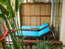 Beach chairs in tropical resort Stock Images