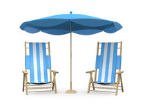 Beach Chairs with Umbrella Royalty Free Stock Photo