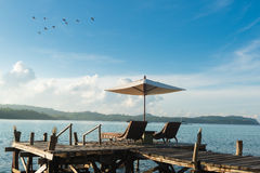 Beach Chairs and Umbrella on island in Phuket, Thailand. Summer, Royalty Free Stock Photo