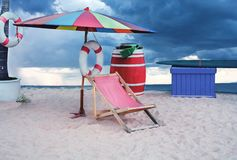 Beach chairs and umbrella. With blue sky royalty free stock photography