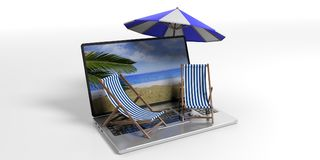 Beach chairs and umbrella on a laptop - white background. 3d illustration. Dreaming summer vacation. Beach chairs and umbrella on a laptop - white background. 3d stock images