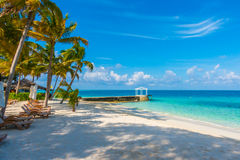 Beach chairs with umbrella at Maldives island with white sandy b Royalty Free Stock Image