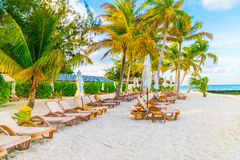 Beach chairs with umbrella at Maldives island, white sandy beach Royalty Free Stock Image
