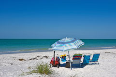 Beach Chairs with Umbrella Royalty Free Stock Photos