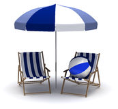 Beach Chairs and Umbrella royalty free stock photography