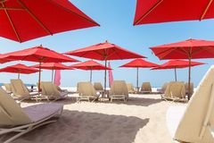 Beach chairs and umbrellas on a beach Stock Photos