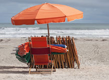 Beach Chairs and Umbrellas Royalty Free Stock Image