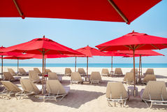 Beach chairs and umbrellas Stock Photo