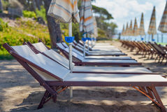 Beach chairs and umbrellas in summer season Royalty Free Stock Photo