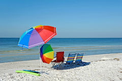 Beach Chairs with Umbrellas Royalty Free Stock Image