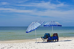 Beach Chairs with Umbrellas Royalty Free Stock Photos