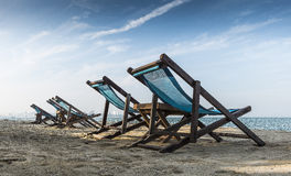 Beach Chairs. Under blue sky Royalty Free Stock Photography