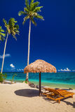 Beach chairs under umbrella with palm trees, Samoa Islands Stock Image