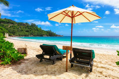 Beach chairs under umbrella on tropical beach Royalty Free Stock Images
