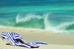 Beach chairs & vacation romance. stock images