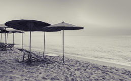 Beach chairs in vintage style color Royalty Free Stock Photo