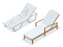 Beach chairs  on white background. Wooden beach chaise longue Flat 3d isometric vector illustration. Royalty Free Stock Photo
