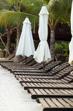 Beach chairs on white sand Royalty Free Stock Photos