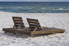 Beach chairs with ocean view  Stock Photo