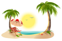 Beach chaise longue under palm tree. Beach umbrella. Summer vacation in tropics Royalty Free Stock Photos