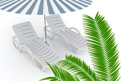 Beach chaise-lounge Stock Images