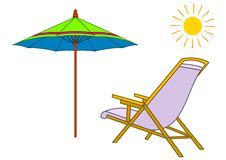 Beach chaise lounge and umbrella. The isolated summer subjects: a beach chaise lounge, an umbrella and the sun vector illustration