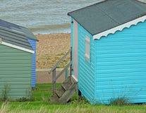 Beach chalet huts royalty free stock photos