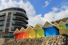 Beach chalets and tourst hotel Stock Image