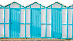 Beach changing rooms blue cabin sea Royalty Free Stock Photos