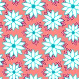 Beach cheerful seamless pattern wallpaper of tropical dark green leaves of palm trees and flowers bird of paradise strelitzia. Plumeria on a light yellow stock illustration