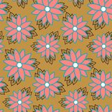 Beach cheerful seamless pattern wallpaper of tropical dark green leaves of palm trees and flowers bird of paradise strelitzia. Plumeria on a light yellow royalty free illustration