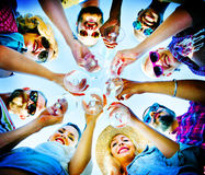 Beach Cheers Celebration Friendship Summer Fun Concept.  Stock Images