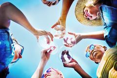 Beach Cheers Celebration Friendship Summer Fun Concept Stock Photo
