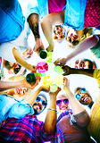 Beach Cheers Celebration Friendship Summer Fun Concept.  Royalty Free Stock Images