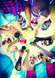 Beach Cheers Celebration Friendship Summer Fun Concept Royalty Free Stock Photos
