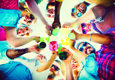Beach Cheers Celebration Friendship Summer Fun Concept Royalty Free Stock Photography